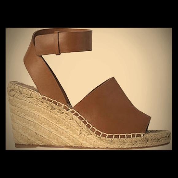 cdf877f5c86 Celine Paris brown Ankle Wrap Espadrille Wedges
